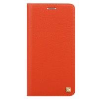 Кожаный чехол горизонтальная книжка на пластиковой основе для Samsung Galaxy J5 Prime  Оранжевый