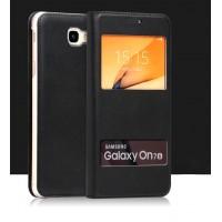 Чехол горизонтальная книжка на пластиковой основе с окном вызова и свайпом для Samsung Galaxy J5 Prime Черный