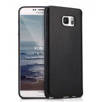 Силиконовый матовый непрозрачный чехол с текстурным покрытием Кожа для Samsung Galaxy Note 5