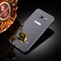 Двухкомпонентный чехол c металлическим бампером с поликарбонатной накладкой и зеркальным покрытием для Samsung Galaxy Note 5  Черный