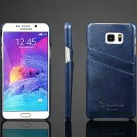 Чехол накладка текстурная отделка Кожа с отсеком для карт для Samsung Galaxy Note 5 Синий