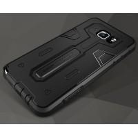 Силиконовый матовый непрозрачный дизайнерский фигурный чехол для Samsung Galaxy Note 5  Черный