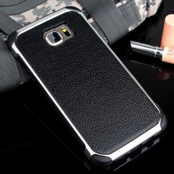 Противоударный двухкомпонентный силиконовый матовый непрозрачный чехол с поликарбонатными вставками экстрим защиты с текстурным покрытием Кожа для Samsung Galaxy Note 5