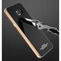Двухкомпонентный чехол c металлическим бампером с поликарбонатной накладкой и поверхностью из закаленного стекла для Samsung Galaxy Note 5