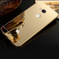 Двухкомпонентный чехол c металлическим бампером с поликарбонатной накладкой и зеркальным покрытием для Xiaomi RedMi 4 Pro  Бежевый