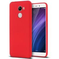 Силиконовый матовый непрозрачный чехол с нескользящим софт-тач покрытием для Xiaomi RedMi 4  Красный