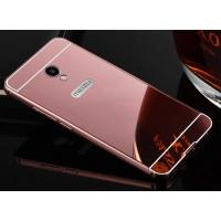 Двухкомпонентный чехол c металлическим бампером с поликарбонатной накладкой и зеркальным покрытием для Meizu M3E  Розовый