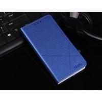 Чехол горизонтальная книжка подставка текстура Линии на пластиковой основе с отсеком для карт для Meizu U10  Синий
