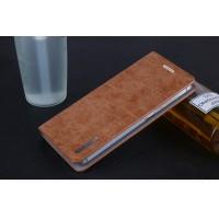 Винтажный чехол горизонтальная книжка подставка на пластиковой основе с отсеком для карт на присосках для Meizu U10  Коричневый