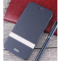 Чехол горизонтальная книжка подставка текстура Линии на силиконовой основе для Meizu U10 Черный