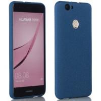 Силиконовый матовый непрозрачный чехол с нескользящим софт-тач покрытием для Huawei Nova  Синий