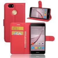 Чехол портмоне подставка на силиконовой основе на магнитной защелке для Huawei Nova  Красный
