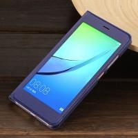 Чехол горизонтальная книжка на пластиковой основе с окном вызова для Huawei Nova Синий