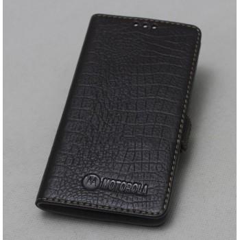 Кожаный чехол горизонтальная книжка подставка (премиум нат. кожа крокодила) с крепежной застежкой для Lenovo Moto Z Play