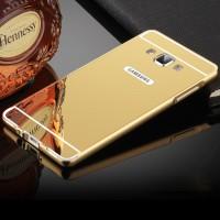 Двухкомпонентный чехол c металлическим бампером с поликарбонатной накладкой и зеркальным покрытием для Samsung Galaxy A7  Желтый