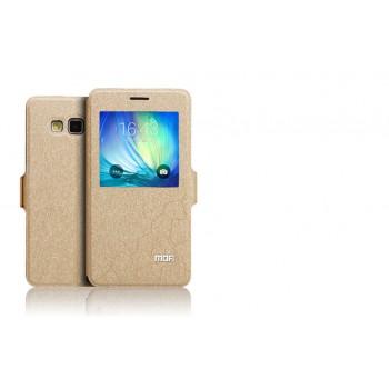 Чехол горизонтальная книжка подставка текстура Соты на силиконовой основе с окном вызова на магнитной защелке для Samsung Galaxy A7