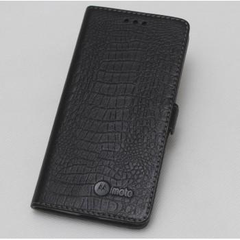 Кожаный чехол горизонтальная книжка подставка (премиум нат. кожа крокодила) с крепежной застежкой для Lenovo Moto Z