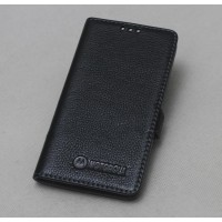 Кожаный чехол горизонтальная книжка подставка (премиум нат. кожа) с крепежной застежкой для Lenovo Moto Z