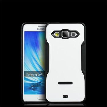 Противоударный двухкомпонентный силиконовый матовый непрозрачный чехол с поликарбонатными вставками экстрим защиты для Samsung Galaxy A7