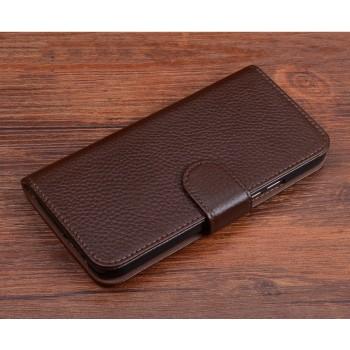 Кожаный чехол горизонтальная книжка (премиум нат. кожа) с отсеком для карт на магнитной защелке для Lenovo P2