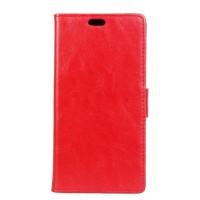 Глянцевый водоотталкивающий чехол горизонтальная книжка подставка на силиконовой основе с отсеком для карт на магнитной защелке для ZTE Blade Z10  Красный