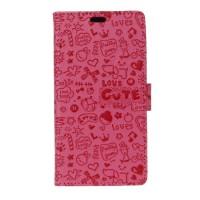 Чехол портмоне подставка текстура Узоры на силиконовой основе на магнитной защелке для Meizu U20  Розовый