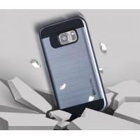 двухкомпонентный силиконовый матовый чехол с поликарбонатными вставками экстрим защиты с текстурным покрытием Металлик для Samsung Galaxy S7