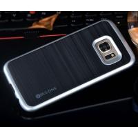 двухкомпонентный силиконовый матовый непрозрачный чехол с поликарбонатными вставками экстрим защиты с текстурным покрытием Металлик для Samsung Galaxy S7