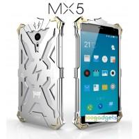 Цельнометаллический противоударный чехол из авиационного алюминия на винтах с мягкой внутренней защитной прослойкой для гаджета с прямым доступом к разъемам для Meizu MX5