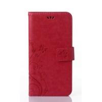 Чехол портмоне подставка текстура Узоры на силиконовой основе на магнитной защелке для Sony Xperia M2 dual Красный