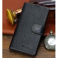 Кожаный чехол портмоне подставка (премиум нат. кожа крокодила) с крепежной застежкой для Sony Xperia M2 dual
