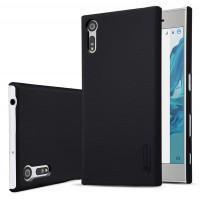 Пластиковый непрозрачный матовый нескользящий премиум чехол для Sony Xperia XZ/XZs Черный