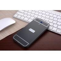 Двухкомпонентный чехол c металлическим бампером с поликарбонатной накладкой и отверстием для логотипа для HTC Desire 620  Черный