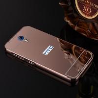 Двухкомпонентный чехол c металлическим бампером с поликарбонатной накладкой и зеркальным покрытием для HTC Desire 620  Красный