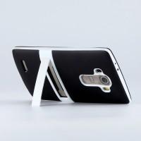 Силиконовый матовый полупрозрачный чехол с поликарбонатным бампером и встроенной ножкой-подставкой для LG G4 Черный