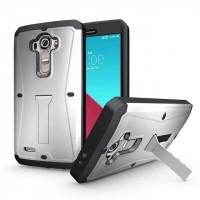 Силиконовый матовый непрозрачный чехол с поликарбонатными вставками экстрим защиты с встроенной ножкой-подставкой и защитным стеклом для LG G4