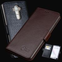 Кожаный чехол горизонтальная книжка подставка (премиум нат. кожа) с отсеком для карт и магнитной застежкой для LG G4