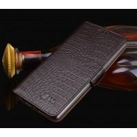 Кожаный чехол горизонтальная книжка подставка (премиум нат. кожа крокодила) с отсеком для карт и магнитной застежкой для LG G4