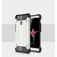 Силиконовый матовый непрозрачный чехол с поликарбонатными вставками экстрим защиты для Xiaomi Mi Max Белый