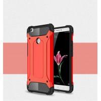 Силиконовый матовый непрозрачный чехол с поликарбонатными вставками экстрим защиты для Xiaomi Mi Max Красный