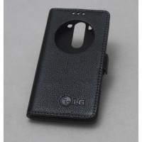 Кожаный чехол горизонтальная книжка подставка (премиум нат. кожа) с окном вызова на магнитной застежке для LG G4