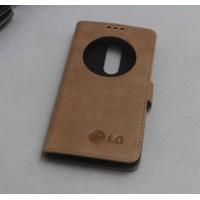 Кожаный чехол горизонтальная книжка подставка (премиум нат. винтажная кожа) с окном вызова на магнитной застежке для LG G4