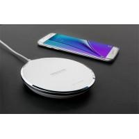 Беспроводное 14мм qi зарядное устройство с LED-подсветкой и кожаной поверхностью Белый