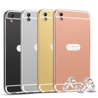 Двухкомпонентный чехол c металлическим бампером с поликарбонатной накладкой и зеркальным покрытием для HTC Desire 816