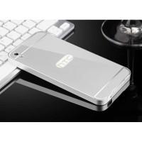Двухкомпонентный чехол c металлическим бампером с поликарбонатной накладкой и зеркальным покрытием для HTC Desire 816  Серый