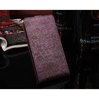 Чехол вертикальная книжка текстура Мультик на силиконовой основе с отсеком для карт на магнитной защелке для Asus ZenFone 3 Max  Фиолетовый