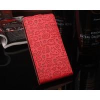 Чехол вертикальная книжка текстура Мультик на силиконовой основе с отсеком для карт на магнитной защелке для Asus ZenFone 3 Max  Красный