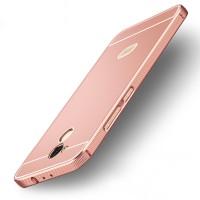 Двухкомпонентный чехол c металлическим бампером с поликарбонатной накладкой и отверстием для логотипа для Xiaomi RedMi 4 Pro  Розовый