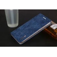 Винтажный чехол горизонтальная книжка подставка на пластиковой основе с отсеком для карт на присосках для Xiaomi RedMi 4 Pro  Синий