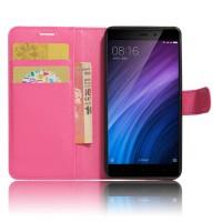 Чехол портмоне подставка на силиконовой основе с отсеком для карт на магнитной защелке для Xiaomi RedMi 4/4Pro Пурпурный